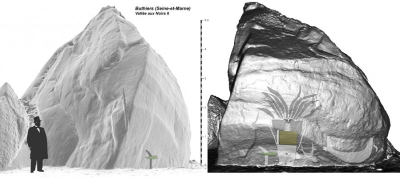 Figure 5. Profile and frontal views of a 3D photogrammetric model of the rock with a graphic inscription of the signs upon the supporting rock face.