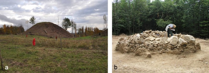 Figure 3. Burial mounds in the region are often of considerable size and would have contained numerous burials. The examples shown are at: a) Kravljak; and b) (under excavation) at Kaptol, Croatia (photographs: H. Potrebica).