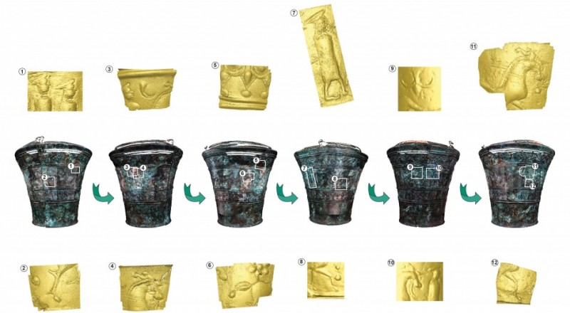 Figure 2. Situla 2 from Grave IV/3, Kandija, Novo Mesto (digital images produced by A. Evans, and reproduced courtesy of the Fragmented Heritage Project, University of Bradford and the Dolenjska Museum).