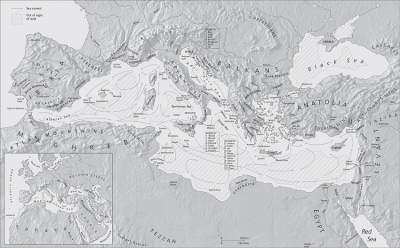 Figure 1. Map of the Mediterranean Sea showing major maritime topographical features (map courtesy of ML Design & Ben Plumridge © Thames & Hudson Ltd. From The Making of the Middle Sea by Cyprian Broodbank, Thames & Hudson Ltd., London).