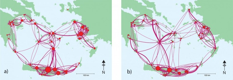 Figure 6. Aegean maritime networks before (a) and after (b) the eruption of Thera. The networks have sites labelled (in size) by rank and links (in thickness) by exchange flow. The resilience of the network to such a catastrophe is clear. The shift in the pattern of exchange after the eruption is striking, with an emphasis on the north-east of the network, where there is archaeological evidence for strong post-eruption activity (maps courtesy of R. Rivers and T. Evans).