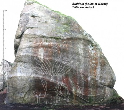Figure 4. A frontal view of the rock with the engravings graphically outlined as they appear in a 3D textured model.