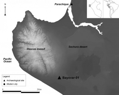 Figure 1. Map of the Sechura desert with the location of the Bayovar-01 site.