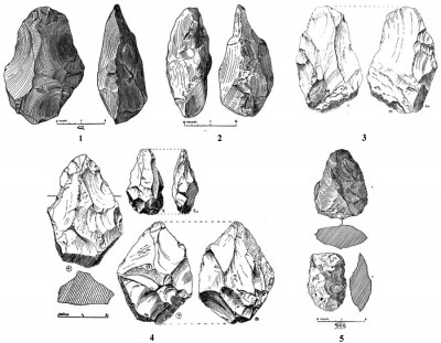 Figure 3. Bifaces as classified and illustrated by Todd: 1) Khandivli: on clay under gravel: hand-axe (Todd 1939: 260, fig. 3); 2) Khandivli: on clay under gravel: rostro-carinate (Todd 1939: fig. 4); 3) handaxe from Bombay (Todd 1932: 37, figs. 3 & 3a); 4) handaxes from Bombay (Todd 1932: 38, figs. 4, 5, 5a, 7 & 7a); 5) Khandivli: handaxe, cleaver (Todd 1939: 263, figs. 7 & 8).