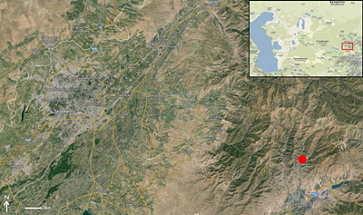 Figure 1. Location of the Katta Sai site (red dot) in the Tian Shan piedmont, Uzbekistan. © Google.