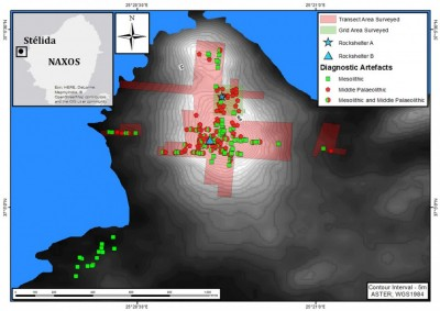 Figure 2. Location of Stélida on Naxos, transects and grids surveyed in 2013, and the distribution of diagnostic earlier prehistoric artefacts.