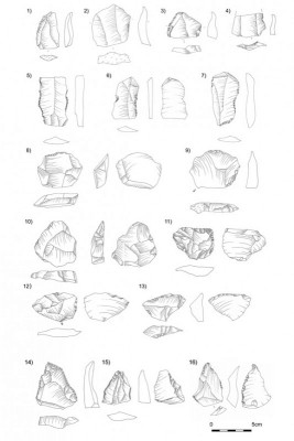 Figure 5. Middle Palaeolithic implements from Stélida: 1) Levallois point; 2–4) Levallois flakes; 5–7) Levallois blades; 8–10) backed flakes; 11 &amp; 13) <em>déjeté</em> flake scrapers; 12) <em>déjeté</em> flake; 14) pointed tool; 15) inverse scraper; 16) pseudo-Levallois point.