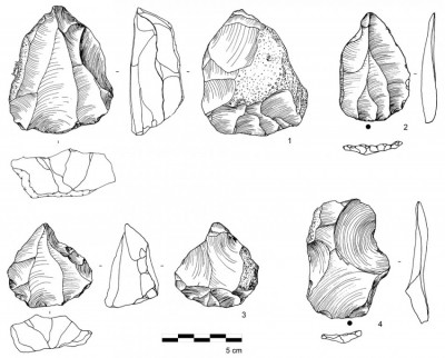 Figure 4. Nubian Complex artefacts from RK.4 and RK.10, including: 1 & 3) Type 1/2 Nubian Levallois cores; 2) Levallois point; and 4) Nubian Levallois diagnostic debitage.