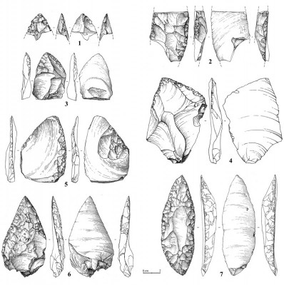 Figure 4. Khotylevo 1, trench 6-2, cultural horizon 1, tools: 1) distal tip of a biface (see also Figure 5c); 2) double sidescraper; 3 & 4) convergent sidescrapers; 5) debitage-backed unifacial knife/sidescraper combined with a truncated-faceted element; 6) retouched Mousterian point (see also Figure 5b); 7) limace (see also Figure 5a).