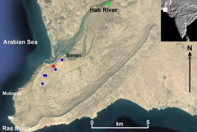 Figure 1. Location of the radiocarbon-dated sites discovered at the mouth of the Hab River. The persent-day village of Sonari is marked, as are SNR-1 (red dot), Pir Shah Jurio (green dot) and other sites (blue dots) (drawn by P. Biagi).
