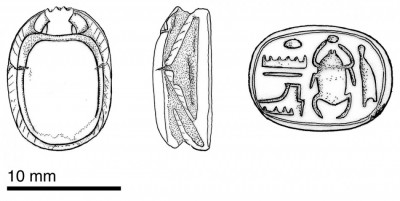 Figure 2. Drawing of Sheshonq I scarab found at Khirbat Hamra Ifdan, Jordan.