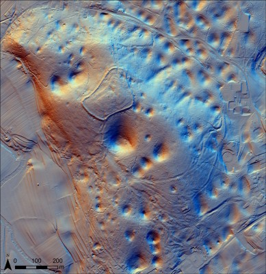 Figure 6. Lidar imagery from the surroundings of the Cvinger hillfort, near Dolenjske Toplice, showing a range of hollow-ways to the south of the settlement, uniting at its flanked entrance (processed by D. Mlekuž, University of Ljubljana).