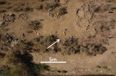 Figure 4. Kite aerial photograph of the eastern part of Site FC prior to excavation; the stone pile chosen for excavation is that in the centre towards the top.