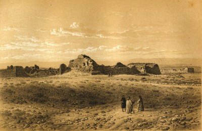 Figure 2. Palmer's 1860s view of the ruined town of Shivta (pen-and-ink sketch) (taken from Palmer 1871).