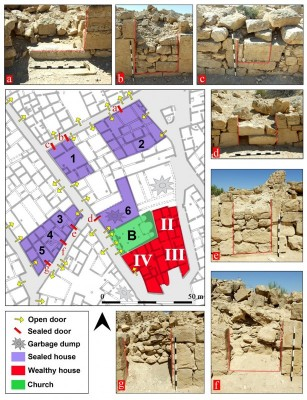 Figure 5. Magnification of the northern cluster of structures with sealed doors in the Shivta settlement plan; these structures are marked 1–6 and associated sealed doors are marked a–f; this part of the settlement contains the central church (B) and three of the elaborately built structures (II–IV).