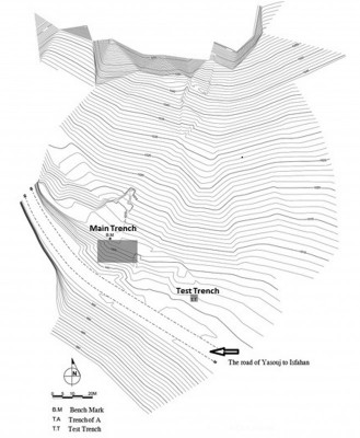 Figure 3. Topographic map of Lama Cemetery with trench locations.