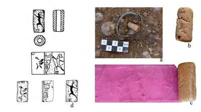 Figure 5. The cylindrical seal from grave 69 at Lama (a: <i >in situ</i>, b: the archer, c: new impression of the seal, d: drawing of seal impression).